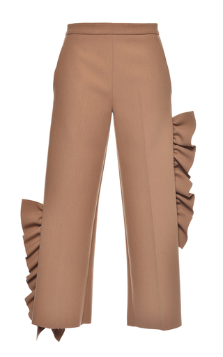 Medium msgm tan beige ruffled technical crepe pants