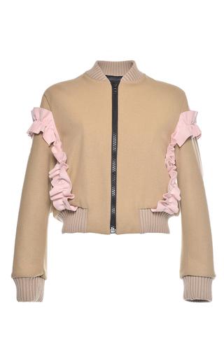 Medium msgm tan wool felt bomber jacket
