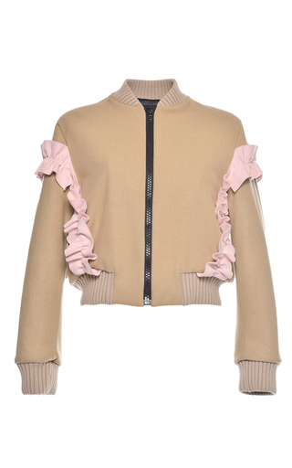 Medium msgm tan wool felt bomber jacket