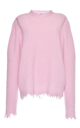 Medium msgm light pink light pink brushed wool fringe sweater