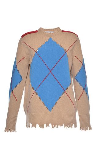 Medium msgm tan distressed argyle sweater