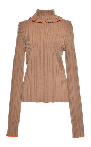 Medium msgm tan beige rib stitch knit turtleneck