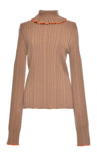 Medium msgm tan beige rib stitch knit turtleneck