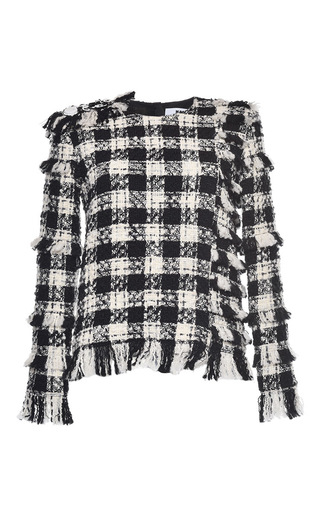 Medium msgm white check tweed top