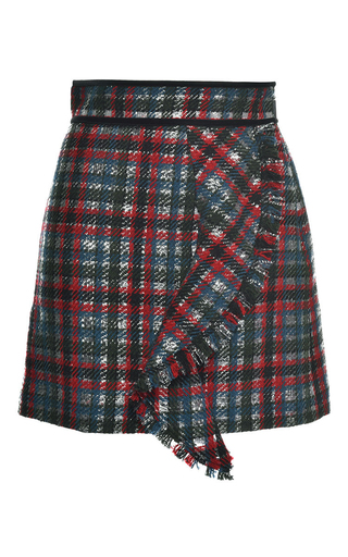 Medium msgm plaid metallic check ruffle mini skirt