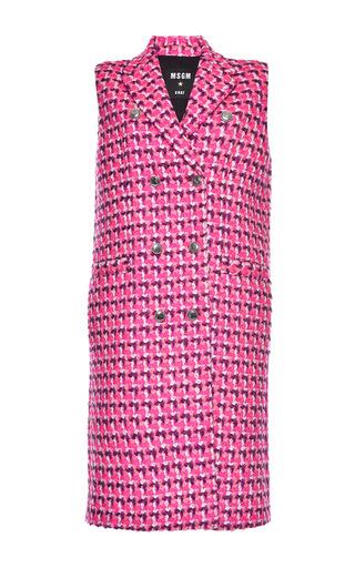 Medium msgm pink check wool boucle vest