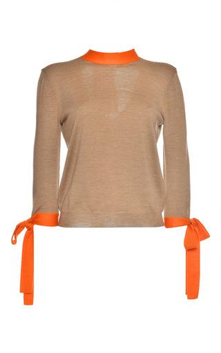 Medium msgm tan beige wool bow sweater