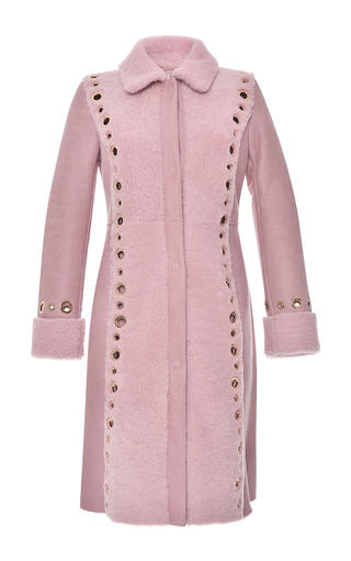 Medium blumarine pink lamb shearling and leather coat