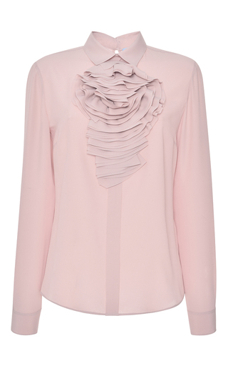 Pink Ruffled Flower Button Up Shirt by BLUMARINE for Preorder on Moda Operandi