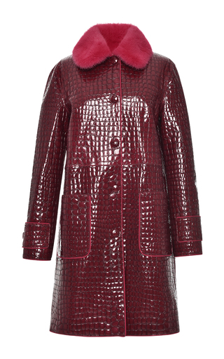 Embossed Leather Coat by BLUMARINE for Preorder on Moda Operandi
