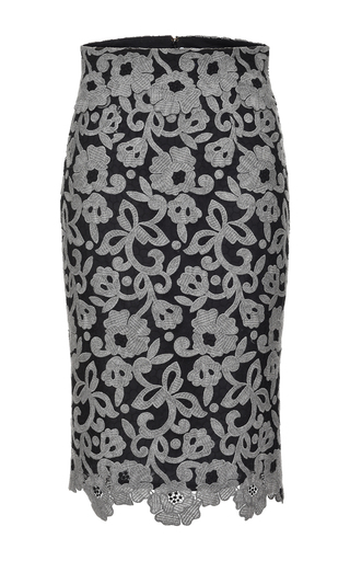 Medium blumarine dark grey lace embroidered pencil skirt