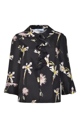 Medium blumarine black ruffled silk blouse