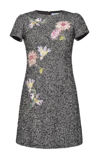 Medium blumarine dark grey embroidered herringbone short dress
