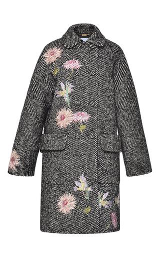 Medium blumarine dark grey embroidered herringbone coat