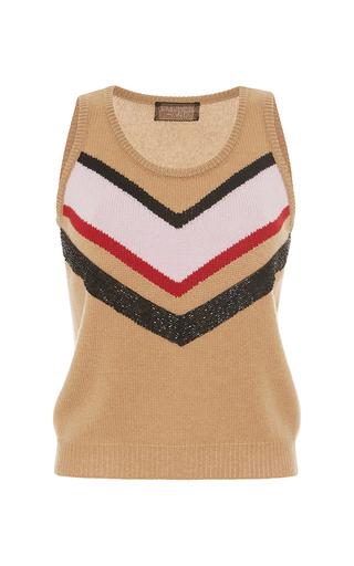 Medium giambattista valli tan sleeveless beaded chevron pullover