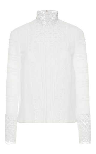 Medium giambattista valli white silk lace magic mushroom blouse