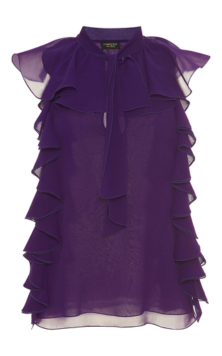 Medium giambattista valli purple silk ruffled blouse