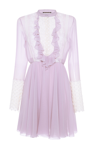 Medium giambattista valli purple long sleeve lace dress