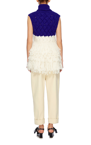 Fringed Turtleneck Pullover by DELPOZO Now Available on Moda Operandi