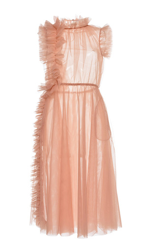 Medium msgm light pink light tulle ruffle midi dress