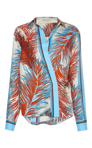 Medium emilio pucci print feather print silk blouse