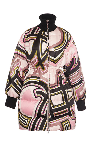 Medium emilio pucci print cinched down coat