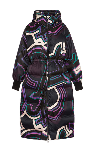 Medium emilio pucci black hooded long down coat