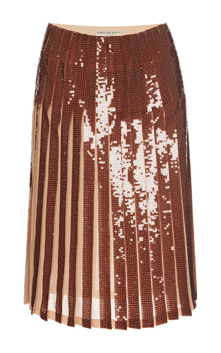 Medium emilio pucci bronze paillette embellished pleated skirt