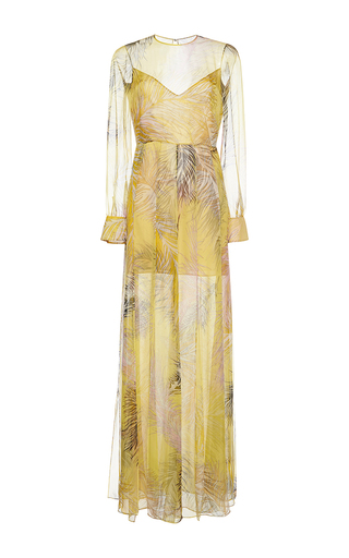 Medium emilio pucci yellow draped silk long dress
