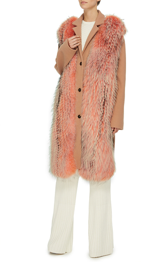 Raccoon Fur Embellished Wool Coat by EMILIO PUCCI Now Available on Moda Operandi