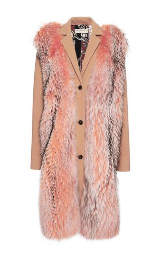 Medium emilio pucci brown raccoon fur embellished wool coat