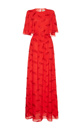 Medium emilio pucci red embroidered capeline gown