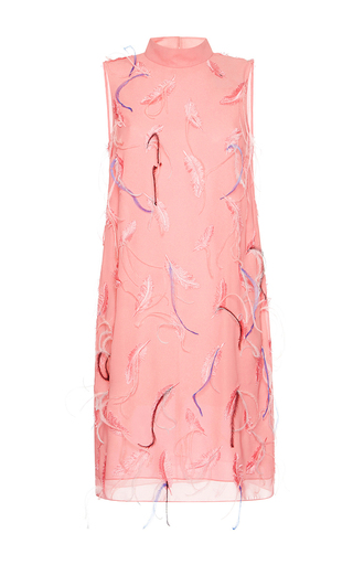 Medium emilio pucci pink feather embroidered shift dress