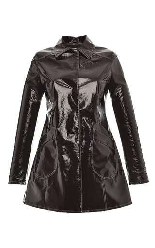 Medium giamba brown lacquered vegan leather coat