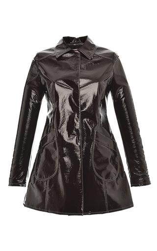 Medium giamba brown lacquered vegan leather coat