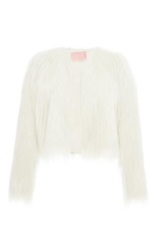 Medium giamba ivory long faux fur cropped jacket
