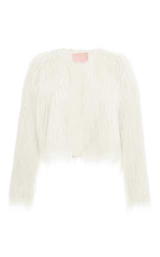 Medium giamba ivory long faux fur cropped jacket