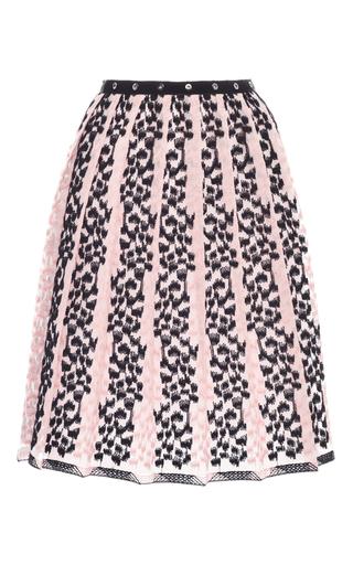 Medium giamba light pink embroidered stripes pleat skirt