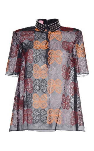 Medium giamba black orange butterfly lace top with embroidered collar