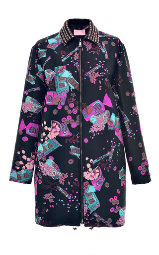 Medium giamba black chips jacquard coat with embroidered collar