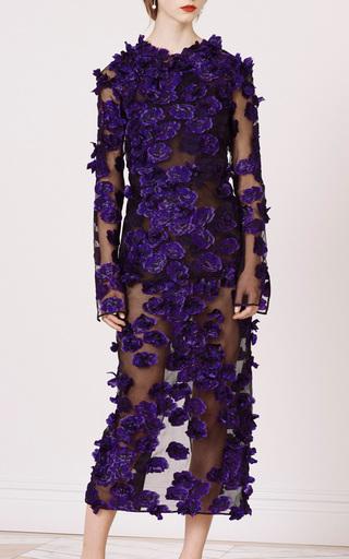 Medium jason wu purple black and iris crew neck embroidered long sleeve top