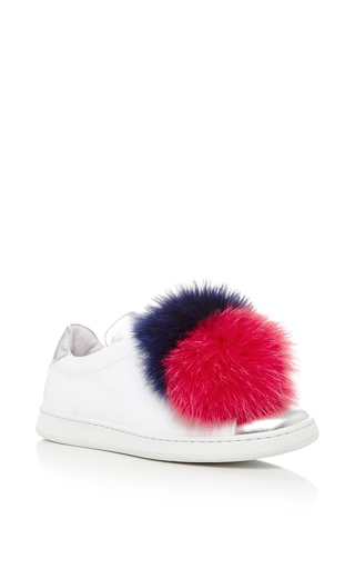 Fur Pom Pom Sneakers by JOSHUA SANDERS Now Available on Moda Operandi