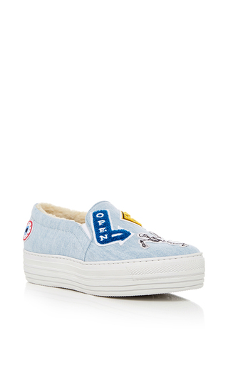 Medium joshua sanders light blue denim slip on sneakers