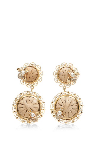 Medium dolce gabbana tan wicker inspired drop earrings