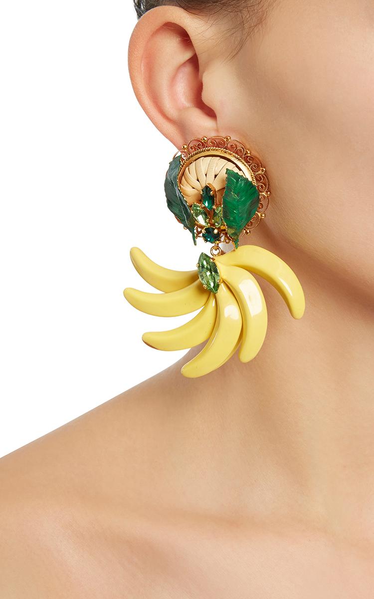 Resin Banana Earrings by Dolce amp Gabbana Moda Operandi