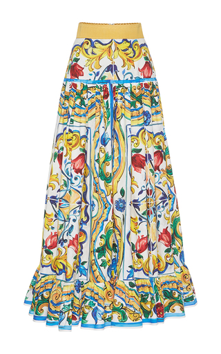 Medium dolce gabbana print printed pleated maxi skirt