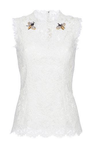 Medium dolce gabbana white bee brooch lace top
