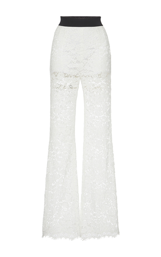 Medium dolce gabbana white sheer lace trousers