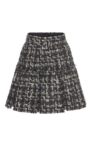 Medium dolce gabbana dark grey pleated tweed miniskirt