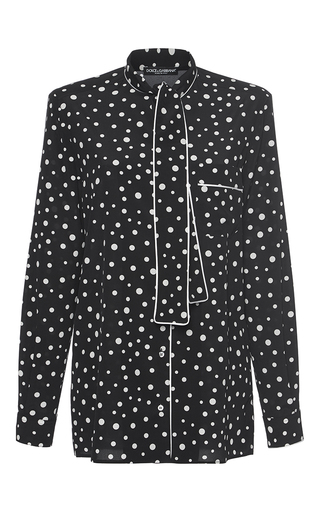 Medium dolce gabbana black white tie neck polka dot shirt